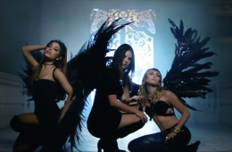 Ariana Grande, Lana Del Rey, & Miley Cyrus with black angel wings