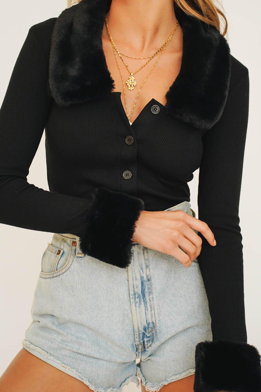 black fur cardigan